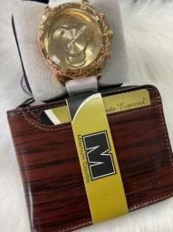 Kit masculino relógio e carteira