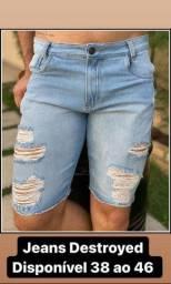 Bermudas Jeans Grosso rasgadas