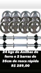Kit 24kg Anilhas de Ferro mais Barras Rosca Rápida R$ 289,00, halteres, peso, musculação