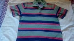 Camisa listrada com gola da Hering Kids tm. 12