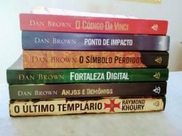 Kit com livros usados: 5 do Dan Brown e 1 do Raymond Khoury