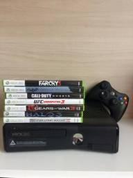 Xbox 360 + 7 Jogos Originais + Controle Original + Cabo Av e Fonte