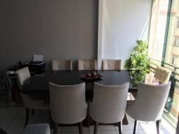 Mesa de Alto Padrão - C/8 cadeiras madeira e vidro