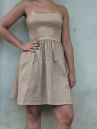 Vestido curto de festa - marrom bege