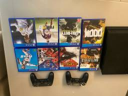 PlayStation 4 500 gb 2 controles 9 jogos