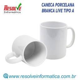 Caneca Porcelana Branca Live Tipo A
