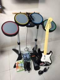 Kit Rock Band para Xbox 360 (Bateria/Guitarra/Microfone/2 jogos)