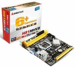 Título do anúncio: PLACA MÃE LGA 1150 Biostar, Slot DDR3, para INTEL de 4a geração, novo, original