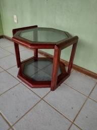 Mesinha retrô madeira e vidro