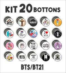 kit com 20 bottons BTS / BT21