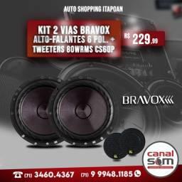 Kit 2 Vias Bravox Alto-Falantes 6 pol. + Tweeters 80WRms Cs60p na Canal Som