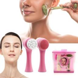Título do anúncio: Kit Pedra Jade Rolo Facial + Escova Limpeza Esfoliação Limpeza Facial