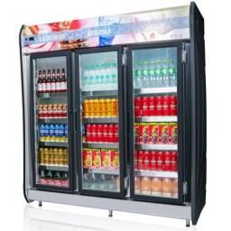 Expositor Vertical de Bebidas Refrigerado 3 Portas 1432 Litros 127v - Até 12x (Novo)