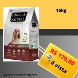 Racao adulto formula natural 15kg R$179,00 a vista novo sem uso, embalagem lacrada