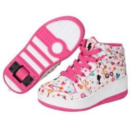Tênis com Rodinha Zeep Starlight Infantil - Branco e Pink