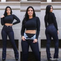 a838e1ed8b Calça Jeans Flare Com Cinta Modeladora