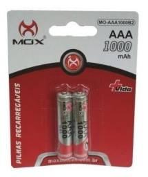Pilhas Palito Recarregáveis Mox Aaa 1000mah 1.2v Original