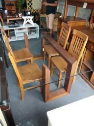 Mesa com 4 cadeiras madeira