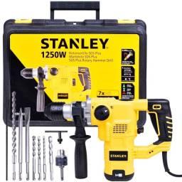 Martelete Perfurador Rompedor SDS Plus 3,5J 3 Modos 1250W 220V com kit de 9 Peças Stanley