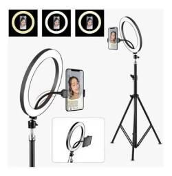 Ring Light Iluminador 26cm 10 Polegadas + Tripé 2,1m Selfie