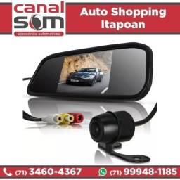 Kit Retrovisor Com Câmera De Ré Instalado na Canal Som