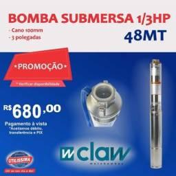 Bomba Submersa (3 polegadas)cano 100mm, 1/3 HP, joga ate 48 metros de altura