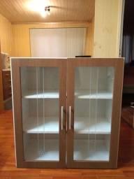 Balcão de MDF 2 portas de vidro branco
