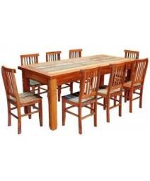 Conjunto Mesa de Jantar Madeira Demolição 2 metros com 8 Cadeiras Mineira com Pátina