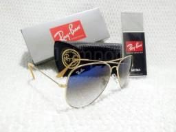 a02c373c2a527 Óculos de Sol Ray Ban Aviador Azul Degradê 3025 3026 Unissex Novo