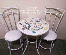 Móveis sacada, varanda, conjunto mesa mosaico