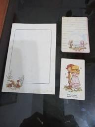 Papéis de carta antigos kit com 9 papéis mais 3 cards Amar é..