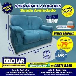 Sofá Fênix 2 Lugares Azul, Compre no zap *