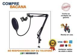 Pedestal suporte articulado microfone braço + Pop filter