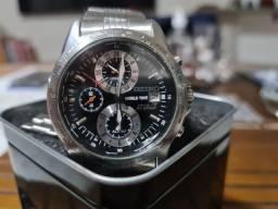 Relógio Seiko world time 40mm novíssimo barbada