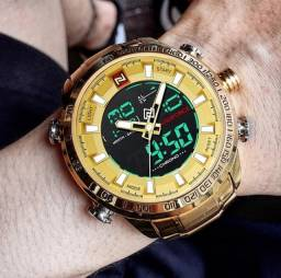 Relógio Naviforce Dourado, Analógico e Digital Multifuncional