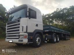 Conjunto Caminhão Trator 6x2 Scania R 124 400 ano 2002