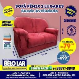 Sofá Fênix 2 Lugares Vermelho, Compre no zap *