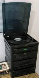 Toca Discos Phillips - Vinil - Duplo Cassete - AM e FM - Toca CD com disqueteira 5 discos
