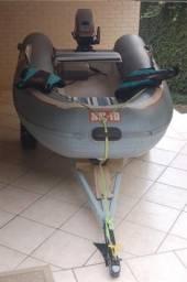 Barco de borracha SR10, motor 15hp mais carreta - 1998