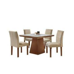 Conjunto Sala de Jantar Mesa Tampo MDF/MDP Pietra 4 Cadeiras LJ Móveis