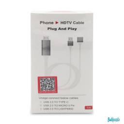 Cabo Hdmi Adaptador Hdtv iPhone, Android Plug Play Automátic