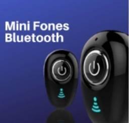 Mini Fone Bluetooth   1 Par + Relógio