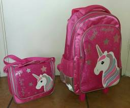 Mochila escolar infantil + lancheira rosa unicórnio
