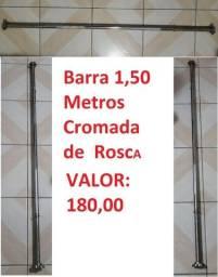 Barra 1,50 Metros  Cromada de  Rosca