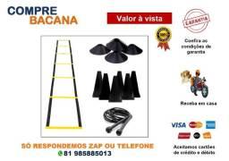 Kit Escada + 10 Pratos + 10 Cones + Corda Black Funcional