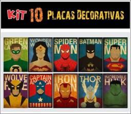 Kit com 10 placas decorativas Super Heróis