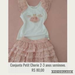 Conjunto Petit Cherie tam 2-3 anos, pouco usado, com paetês