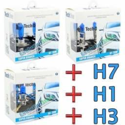 Kit Lâmpadas Techone Super Branca H7 + H1 + H3 | 8500k
