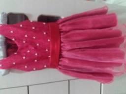 Vestido pink em cetim e detalhes de perolas