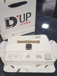 Apple Watch 4 44mm Gold +aço inoxidável + celular+ GPS+ pulseira estilo milanês